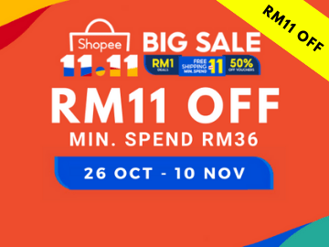 11.11 Shopee Sale! Use this exclusive promo code to get RM11 OFF your first purchase