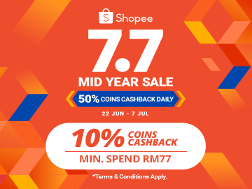 7.7 MID YEAR SALE! Get RM7.70 off your first purchase with this exclusive Shopee promo code