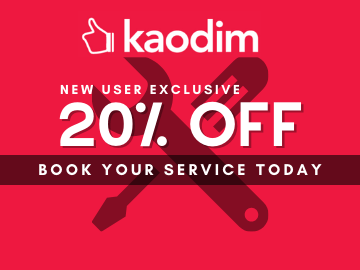 Get 20% off when you book your first service using this Kaodim exclusive promo code