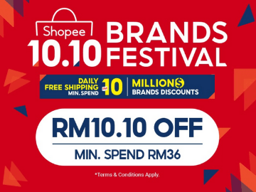 NEW USER: Enjoy RM10.10 off on Shopee 10.10 Brands Festival Sale with this exclusive voucher code