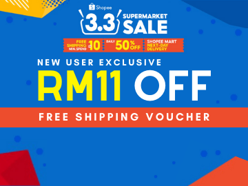 New Users Offer: RM11 OFF your first purchase when you use this Shopee 3.3 exclusive promo code