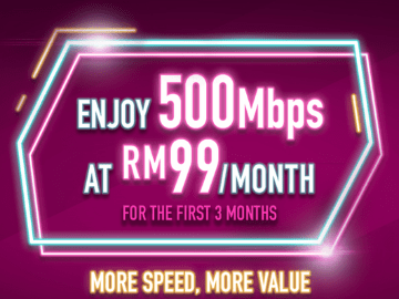 Pay only RM99 for the first 3 months to enjoy Time Internet 500 mbps broadband