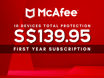 Save more when you get McAfee Total Protection Family Bundle for S$139.95