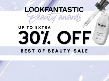 Shop Lookfantastic Beauty Award Sale now and enjoy up to 30% off with this promo code